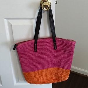 Gap pink and orange crocheted bag